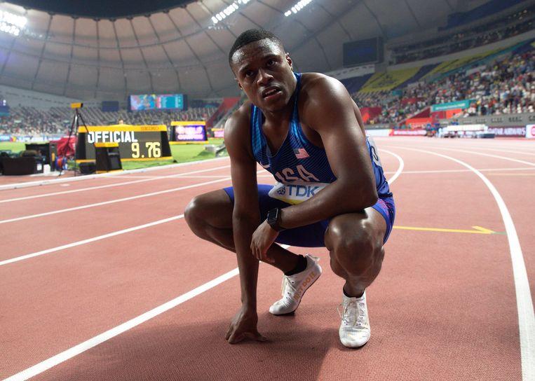 Christian Coleman na zijn overwinning in de 100 meter finale op het WK in Doha in september vorig jaar.  Beeld EPA