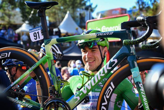 Fabio Jakobsen na afloop van de twintigste etappe in de Ronde van Spanje.