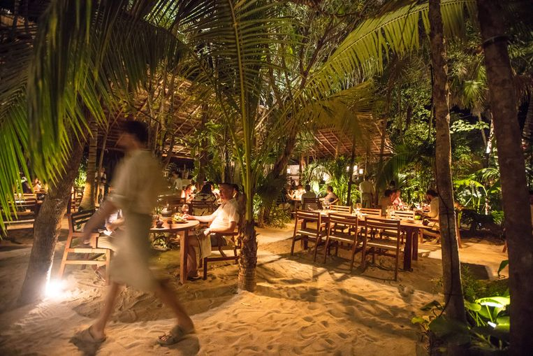 Een stuk strand, tropische bomen incluis: meer heeft Redzepi niet nodig om de juiste sfeer op te roepen. Beeld Piet De Kersgieter