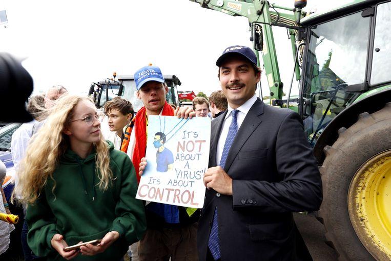 Thierry Baudet van Forum voor Democratie tijdens de demonstratie op het Malieveld tegen het stikstofbeleid van het kabinet. Beeld ANP