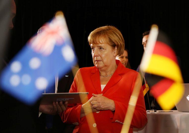 Angela Merkel hield in bij een bezoek aan het Lowy Institute in het Australische Sydney een toespraak over buitenlandse politiek.