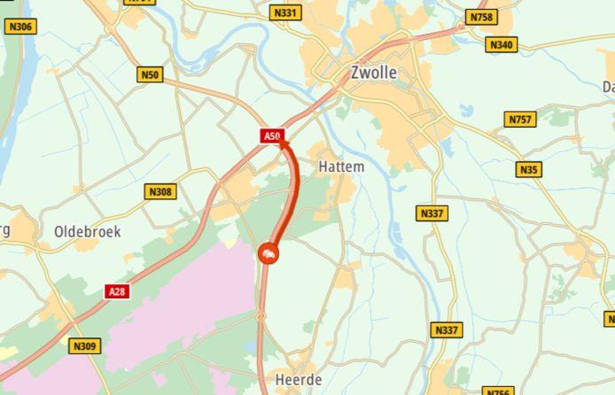 De file voor Zwolle ten gevolge van het ongeluk.