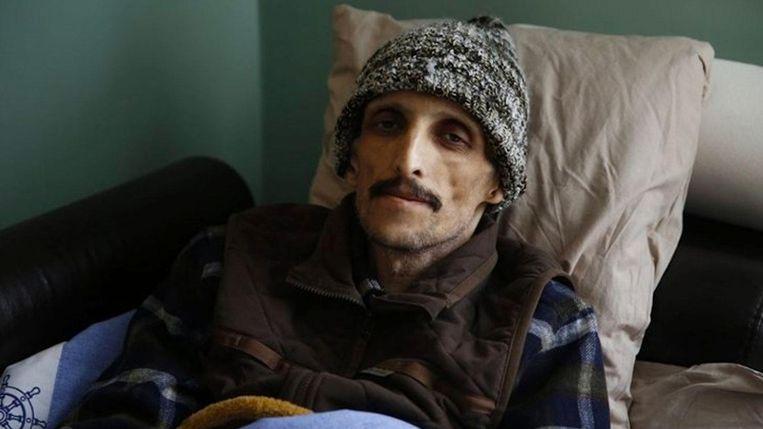 Ibrahim Gökçek woog tegen het einde van zijn hongerstaking nog slechts 40 kilo. Beeld