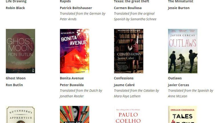 Screenshot van de website met daarop de genomineerden voor de literatuurprijs, met onder meer Bonita Avenue. Beeld Screenshot