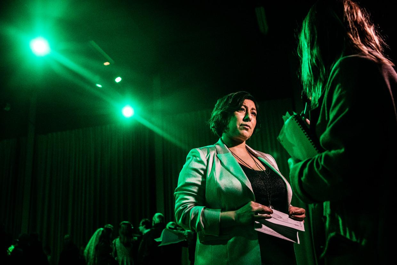 Meyrem Almaci bleef ook na de tegenvallende stembusresultaten van 2019 voorzitter van Groen.   Beeld Aurélie Geurts