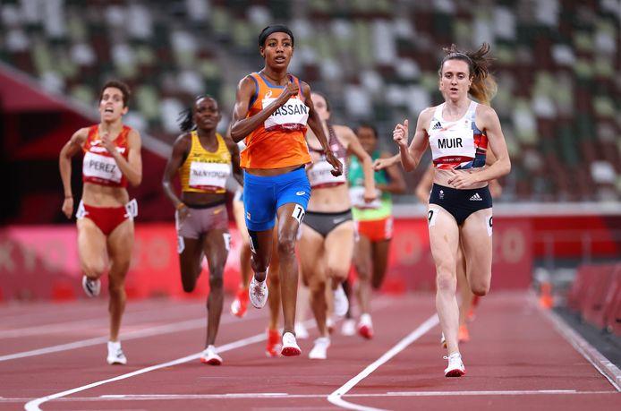 Sifan Hassan ging in de laatste honderd meter de Britse Laura Muir nog voorbij.