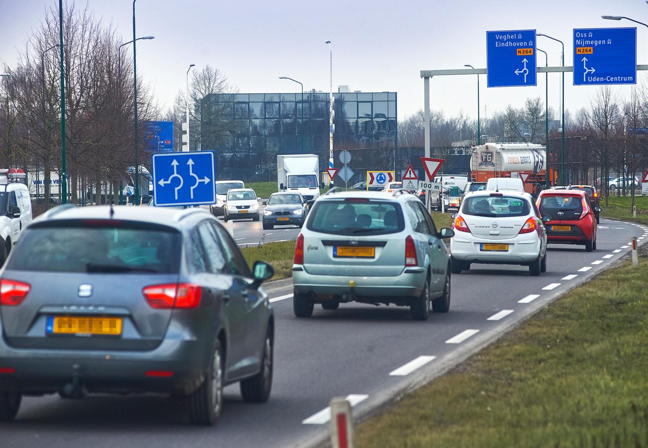 Drukte op de rondweg N264 in Uden.
