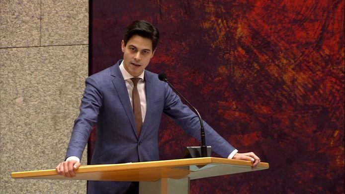 D66-fractieleider Rob Jetten sprak vanmiddag tijdens het coronadebat in de Tweede Kamer over het voorstel voor het instellen van een avondklok.