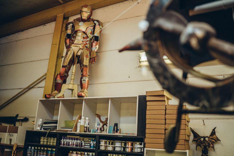 Het Iron Man-pak waarmee het voor Steve Van Hulle allemaal begon. Beeld Thomas Sweertvaegher