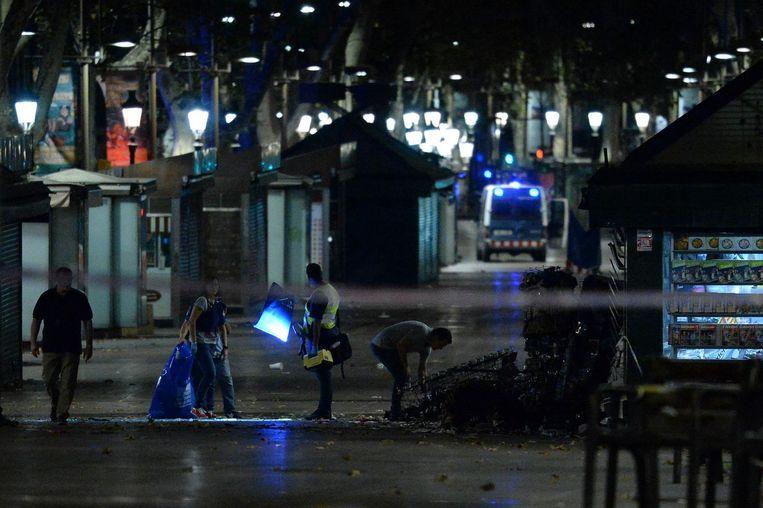 Politie-onderzoek vannacht op De Ramblas. Beeld ANP