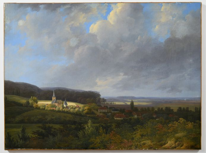 'Gezicht op het dorp Beek bij Nijmegen', geschilderd rond 1815 door Willem de Klerk.