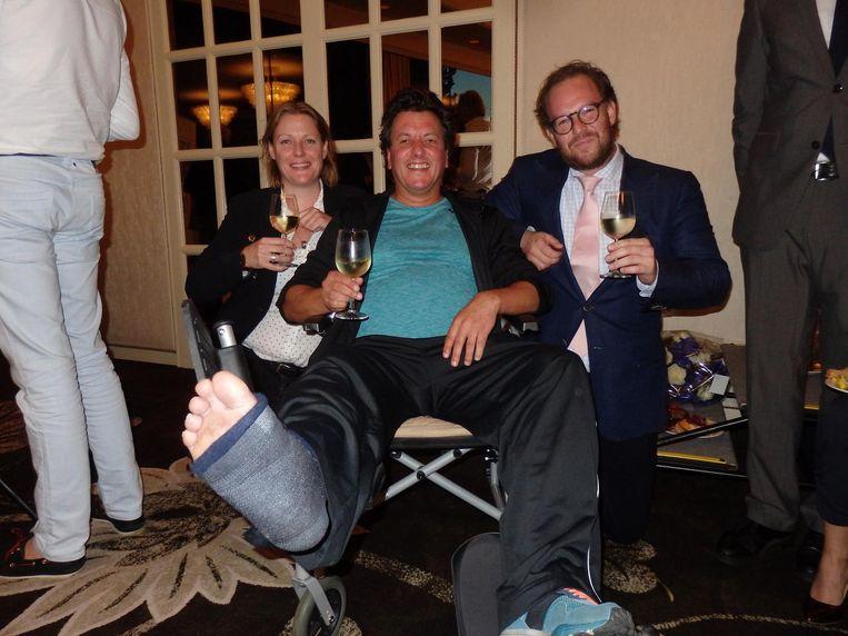 Rex Neve van winnaar Bistrot Neuf (kuitbeen, lomp gevallen in Haarlemmerstraat) en Marije Bremer en Jan Grijspeere van publieksprijswinnaar Auberge Jean & Marie Beeld Schuim