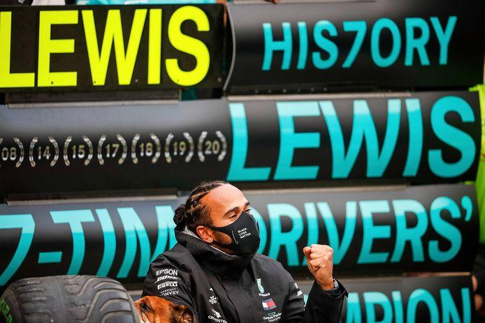 Lewis Hamilton, nu zevenvoudig wereldkampioen in de Formule 1.