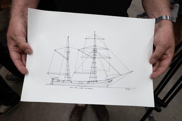 Een schets van hoe het schip er moet gaan uitzien.