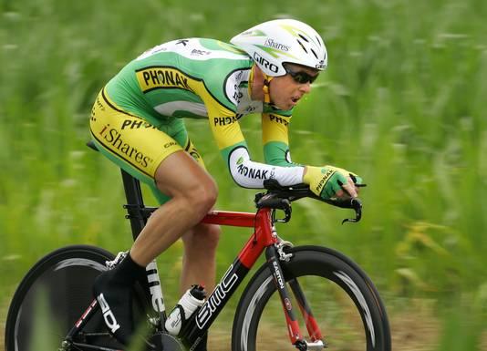 Koos Moerenhout van de Phonak Wielerploeg in actie tijdens de 7e etappe van de Tour in 2007.