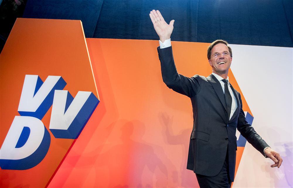 VVD-leider Rutte na zijn overwinningsspeech
