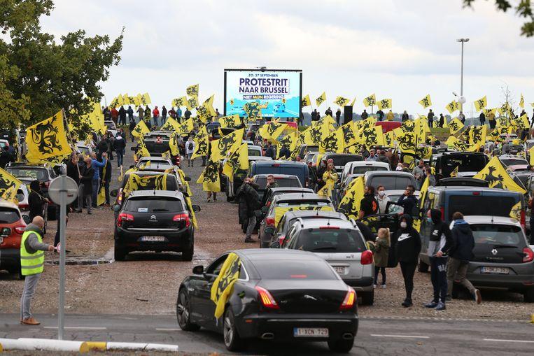 De protestrit van Vlaams Belang in Brussel. Beeld BELGA