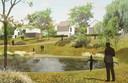 Zo moet de nieuwe wijk Het Plateau in Blixembosch, Eindhoven er uit gaan zien. Rond een watertje staan vrijstaande Walwoningen.