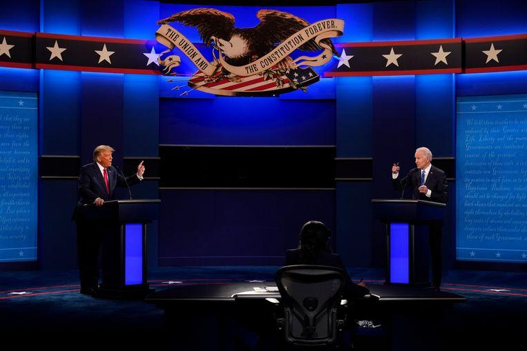 Donald Trump in debat met Joe Biden op 22 oktober in Nashville. Beeld AP