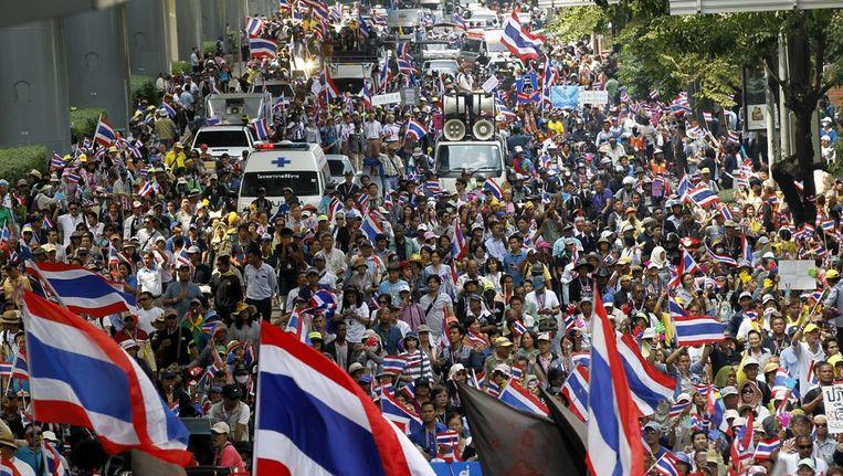 Demonstranten in de Thaise hoofdstad Bangkok. Beeld epa