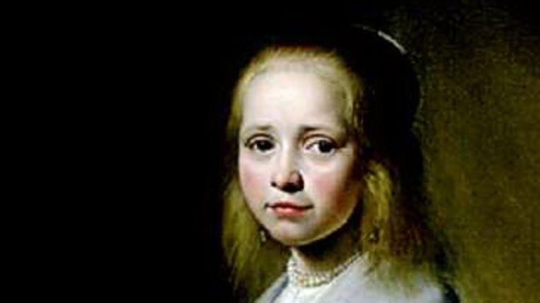 Portret van een meisje in het blauw van Johannes Verspronck (Trouw) Beeld