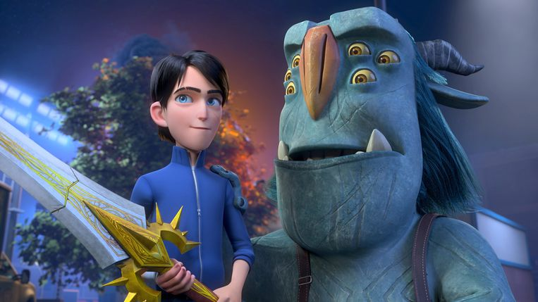 Trollhunters: Rise Of The Titans - (L-R) Jim (voiced by Emile Hirsch) and Blinky (voiced by Kelsey Grammer). Cr: DreamWorks Animation © 2021 Beeld DreamWorks Animation