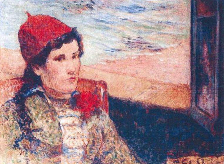Girl in Front of Open Window van Paul Gaugain Beeld AP