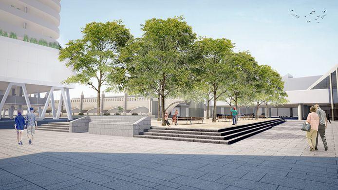 Het ontwerp voor het nieuwe, verhoogde Mediaplein. Links staat het DPG Media-gebouw.