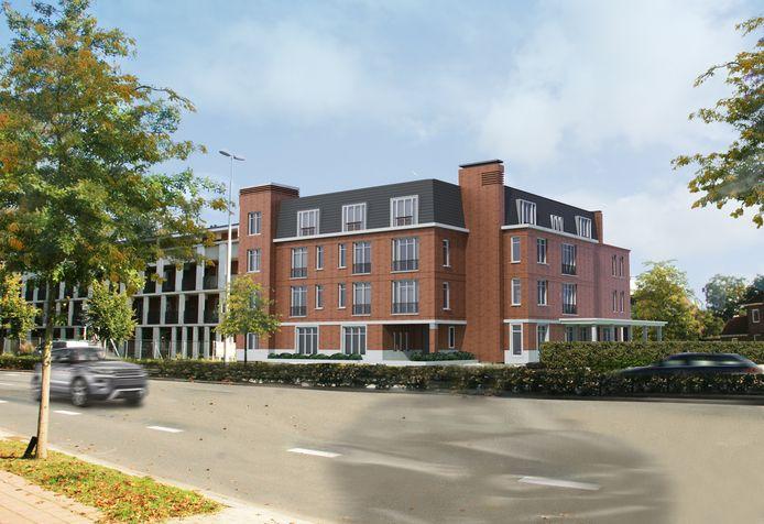 Voorlopig beeld van de zorgvilla op het voormalige zwembadterrein aan de Ringbaan West, links de nieuwbouw voor Amarant.