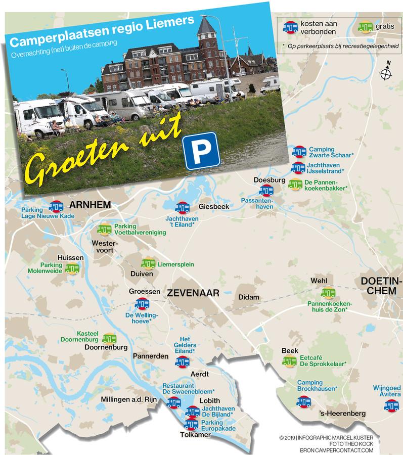 Camperplaatsen in de Liemers, mogelijkheden tot overnachting (net) buiten de campings. Bron: Campercontact.com.