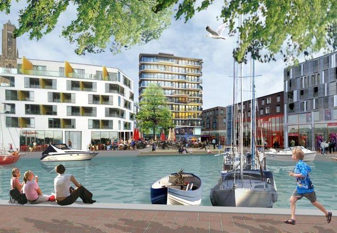 Impressie van het Havenkwartier in Rijnboog. illustratie Urhahn Urban Design