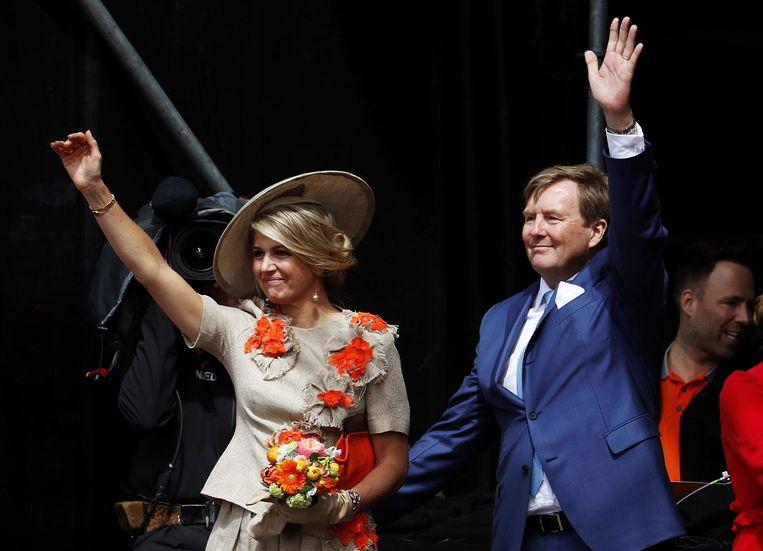 Koning Willem-Alexander en koningin Maxima tijdens Koningsdag 2019 in Amersfoort. Beeld ANP