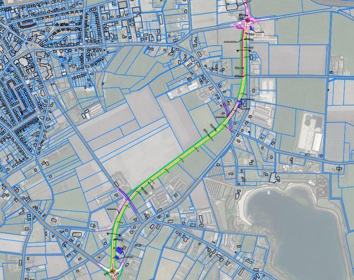 Variant C, het beste tracé voor de rondweg om Volkel volgens de projectgroep, het college van B en W en zo'n beetje alle Udense politieke partijen.