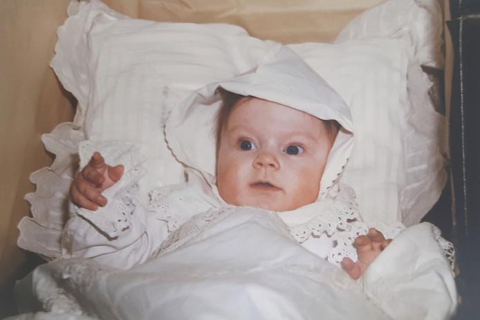 Jessy Faas als babyfigurant op het Dickens Festijn in 1997.
