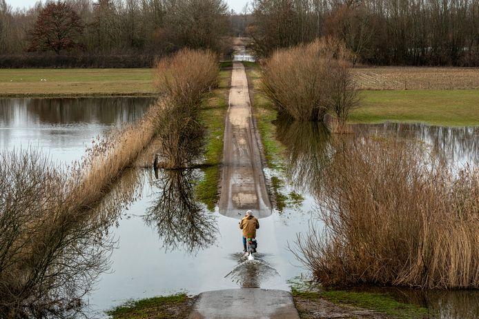 Een fietser rijdt bij Hurwenen door een plas richting de Waal. De uiterwaarden zijn nog nat hoewel het hoge water op zijn retour is.