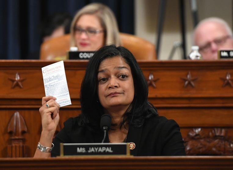 De afgevaardigde Pramila Jayapal hier in het Huis van Afgevaardigden in 2019.  Beeld AFP