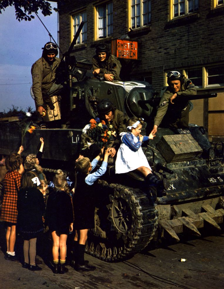 De bevrijding in Nederland, 1945. Beeld Getty