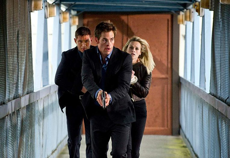 Tom Hardy (links), Chris Pine en Reese Witherspoon in This Means War van McG. Beeld