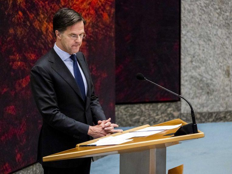 Mark Rutte (VVD) in de Tweede Kamer tijdens een debat over de mislukte formatieverkenning. Beeld ANP
