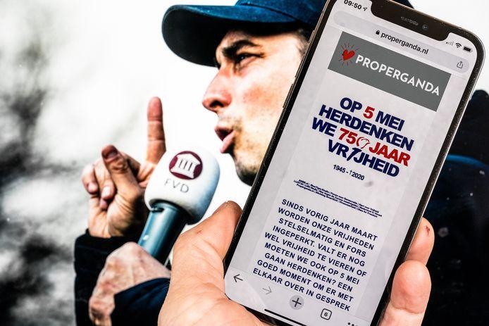 ILLUSTRATIEF - De website properganda.nl met daarop een omstreden poster waarbij op 5 mei aanwezen wordt om de vrijheid te herdenken. De Forum voor Democratie van Thierry Baudet heeft de woede op de hals gehaald om de coronapandemie en coronamaatrdegelen te vergelijken met de Tweede Wereldoorlog.