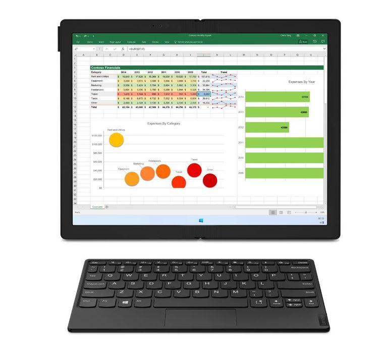 Helemaal uitgeklapt is de ThinkPad ofwel een redelijk rechttoe-rechtaan laptop met een los bluetooth-toetsenbordje ofwel een groot formaat tablet. Beeld Lenovo
