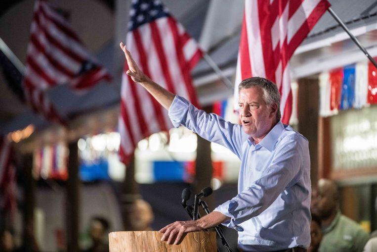 Bill de Blasio blijft burgemeester van New York.