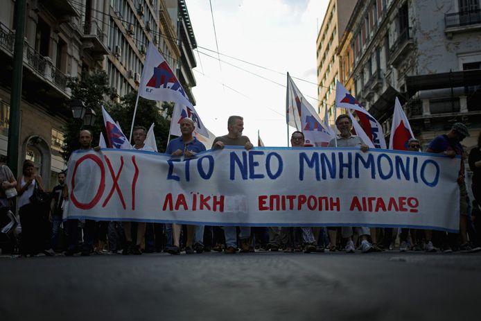 Demonstranten in het centrum van Athene.