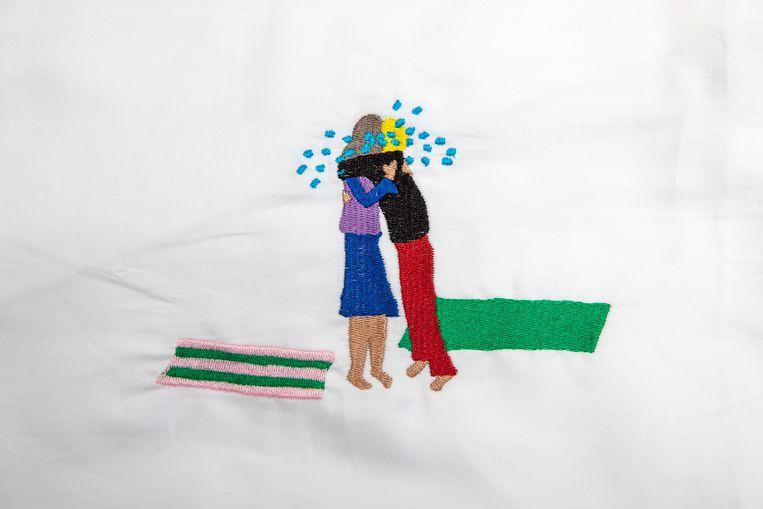 Tijdens de Fuck it-week kun je gerust knuffelen met volslagen vreemden. Beeld Illustratie Anke Knapper/Borduurwerk Habbes Borduurstudio