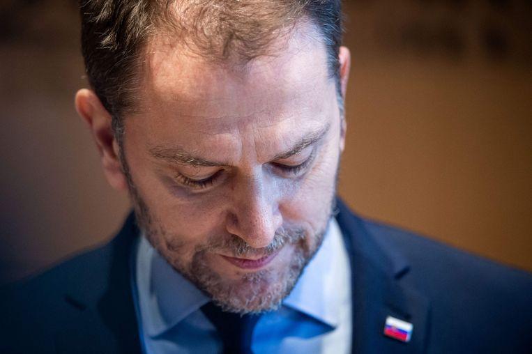 Premier Igor Matovic tijdens de persconferentie waarin hij zijn vertrek aankondigde.  Beeld AFP