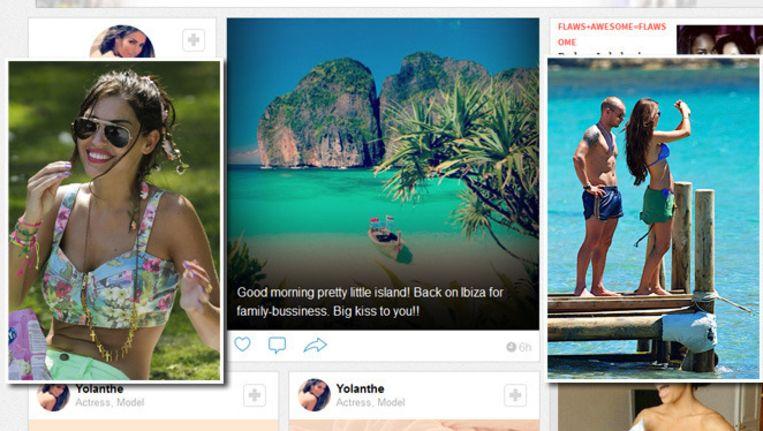 Volgers wezen Yolanthe er op dat het kiekje (screenshot midden) met de melding dat ze weer in Ibiza is, niet klopt. Beeld WhoSay Yolanthe/bruno