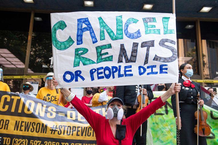 Een betoging tegen huisuitzettingen in Los Angeles, Californië. Beeld AFP
