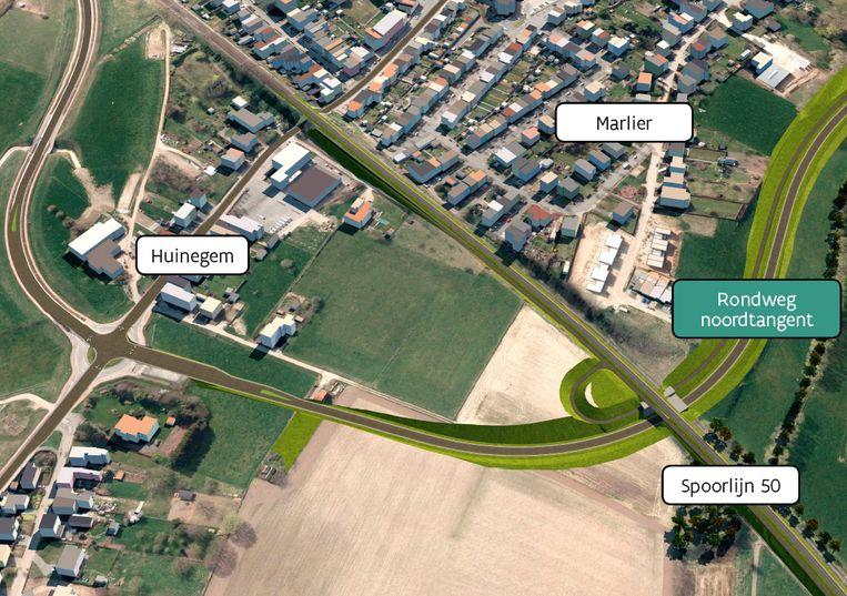 De ringweg vanaf de Huinegem (links). Het trajet trekt vervolgens door de velden richting Prieelstraat en Kalkoven (rechts)