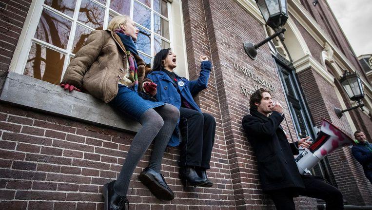 Studenten van de UvA tijdens protesten bij het Maagdenhuis in 2015. Beeld anp