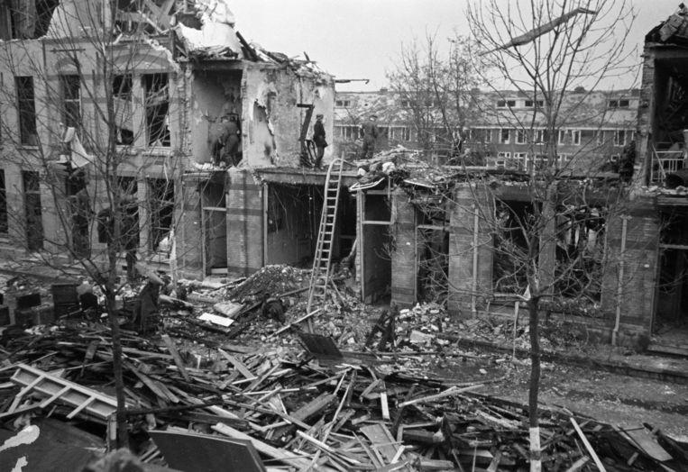 Verwoeste huizen in het Haagse Bezuidenhout. Beeld Hollandse Hoogte / Nederlands Fotomuseum